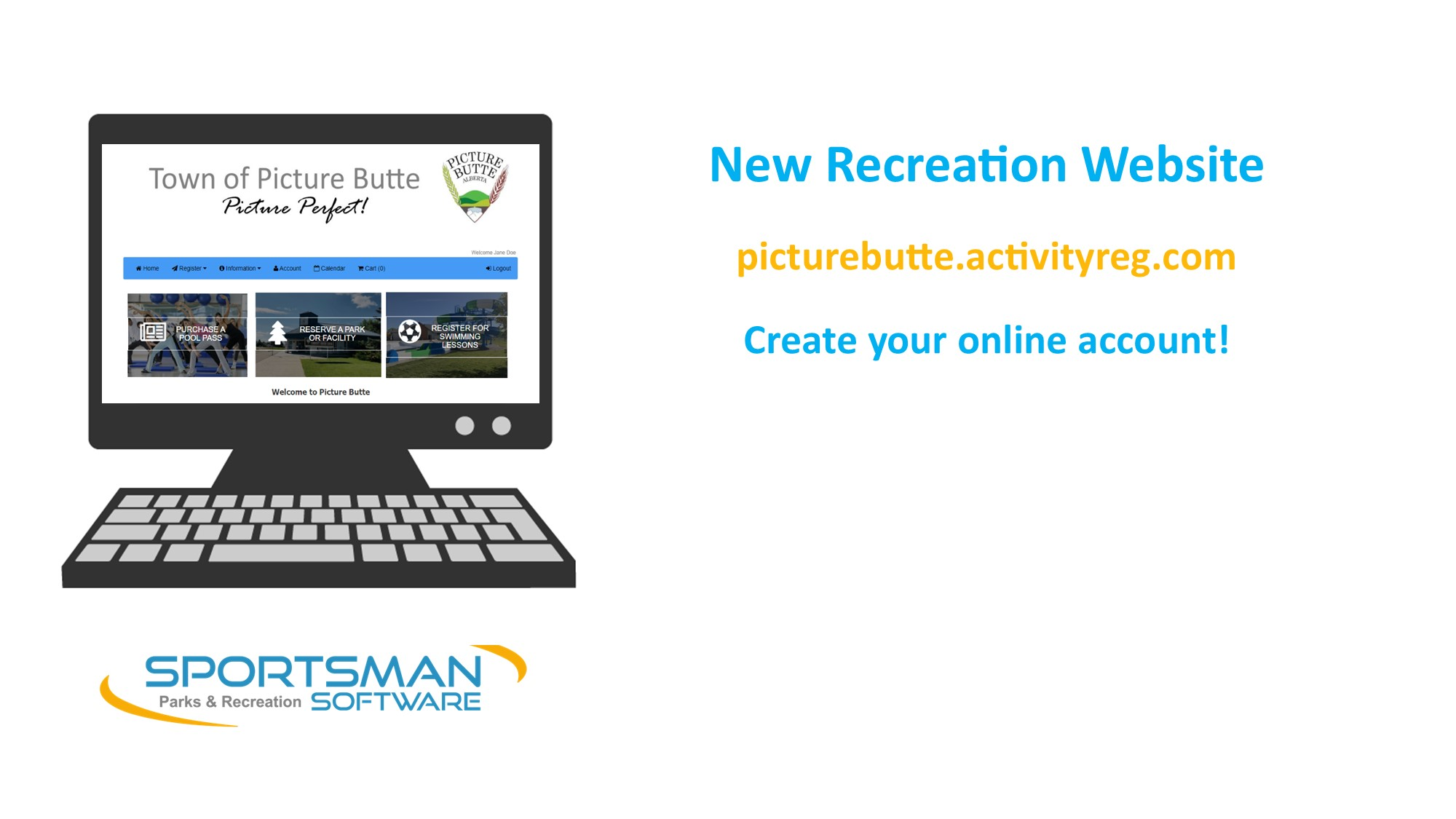 <div id=slideshow_title>New Recreation Website</div> <br>Click for instructions to setup your online account! Use your account to book facilities and purchase pool passes.