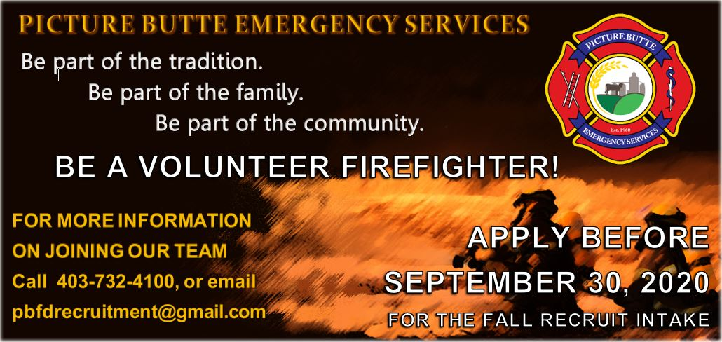 <div id=slideshow_title>Volunteer Firefighter Recruitment</div> <br>Application deadline is September 30, 2020. Click photo for more information and the application form.