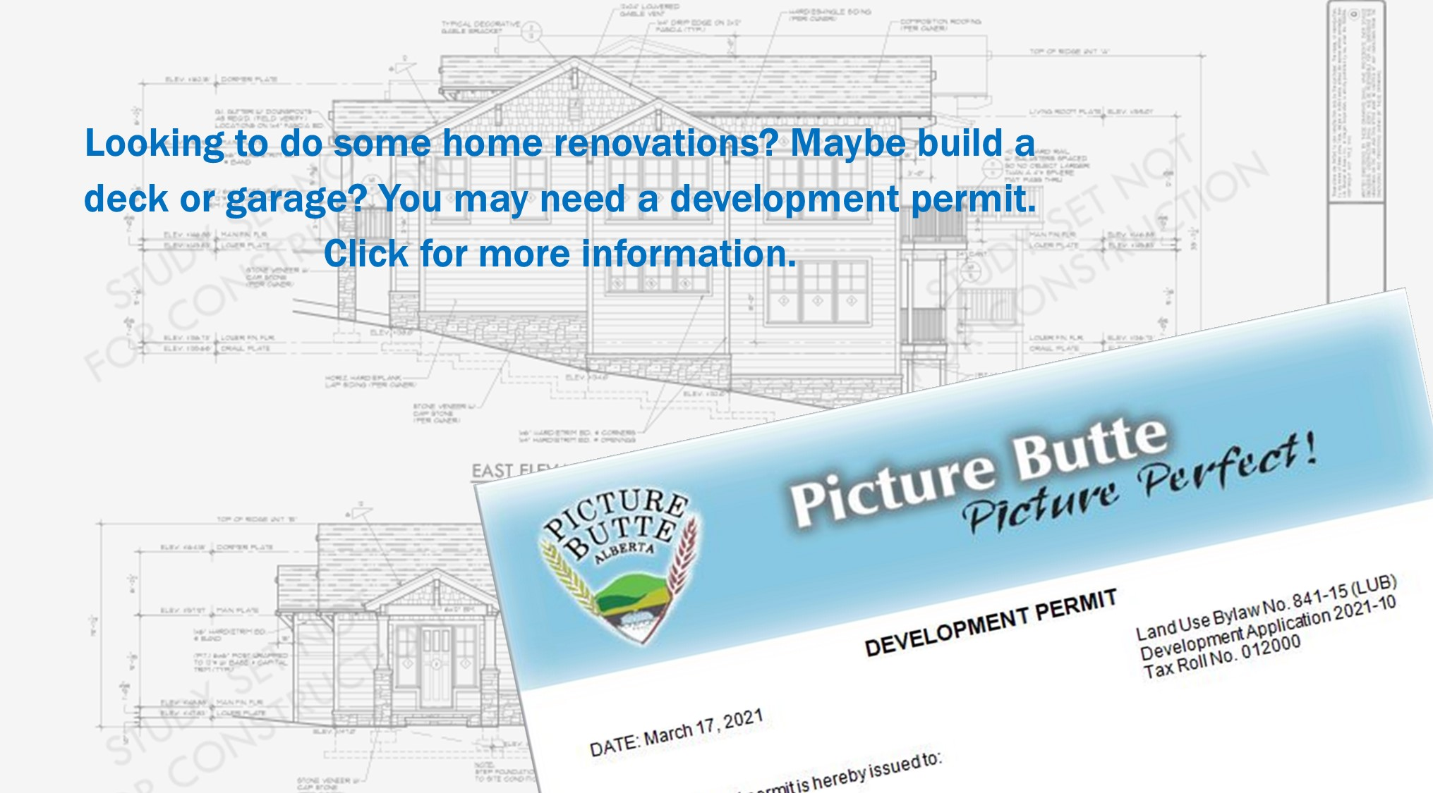 <div id=slideshow_title>Development Permits</div> <br>Development permits are needed for any structural changes or new builds. Click to see if you require a permit for your development.