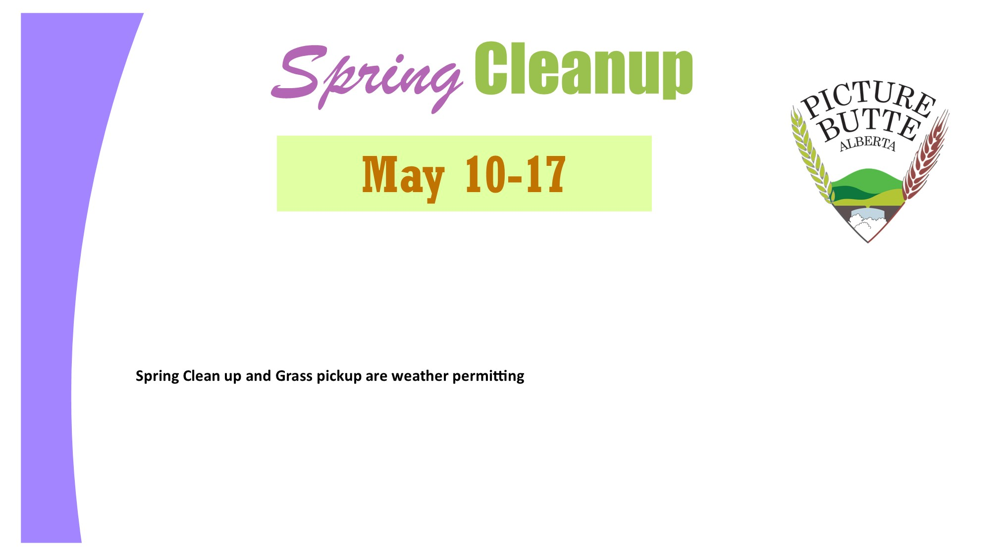 <div id=slideshow_title>Spring Cleanup May 10-17</div> <br>Grass pickup every Tuesday starting May 4th. Click the photo for more information.